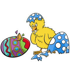 easter chick hatched from coloered egg cartoon vector image