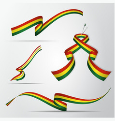 Flag bolivia 4th august set realistic vector