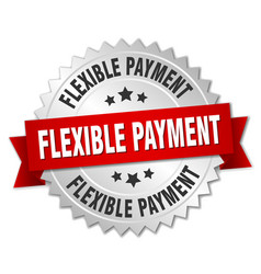 Flexible payment round isolated silver badge vector