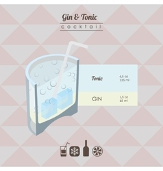 Gin and tonic cocktail flat style isometric vector