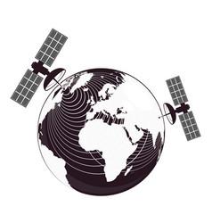 globe and satellites transmit signal vector image
