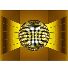 Golden disco ball on golden metallic environment vector