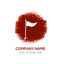 Golf flag icon - red watercolor circle splash vector