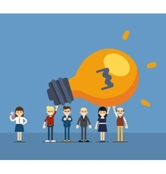 Group of business people holding lightbulb vector image