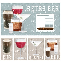 grunge retro poster of bar with glasses of vector image