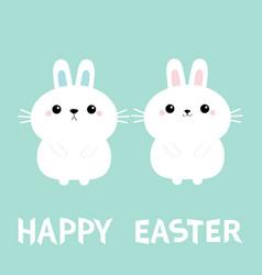 Happy easter two bunny rabbit love couple set vector