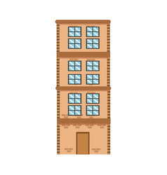 High building brick apartment residential vector