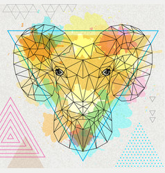 Hipster polygonal animal ram or mouflon vector