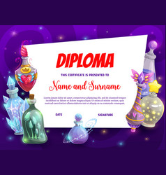 Kid education diploma template with magic potions vector