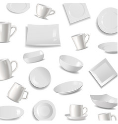 kitchen tableware items pattern vector image