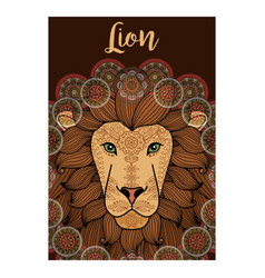 lion ornamental card design vector image