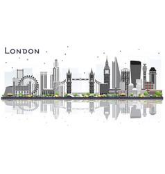 London england city skyline with gray buildings vector