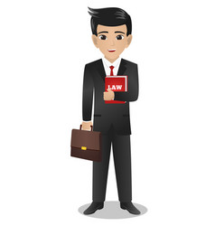 Male lawyer holding red book of law and bag vector
