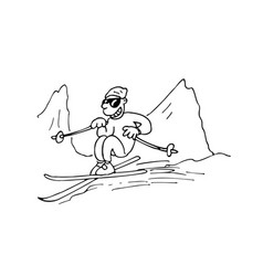Man playing snowboard outlined cartoon handrawn vector