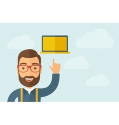 Man pointing the laptop icon vector image