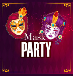 mask party mask red background image vector image