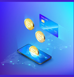 mobile phone and falling gold coin credit card vector image