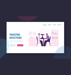 Oculist checkup eye sight website landing page vector