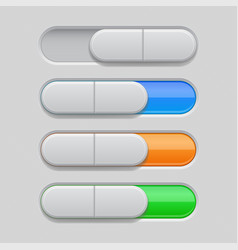 on and off toggle switch buttons colored set of vector image