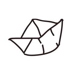 Paper boat doodle vector