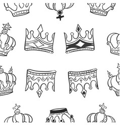 Pattern of crown hand draw collection vector
