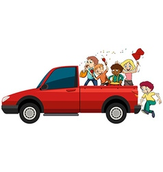 People playing musical instruments on the truck vector