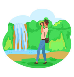 photographer taking picture waterfall vector image