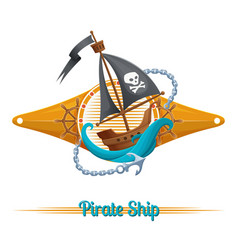 Pirate ship label vector