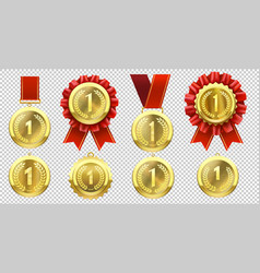 realistic gold medal champion medals with number vector image