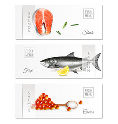 realistic salmon banners set vector image