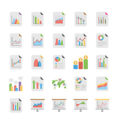 Reports and diagrams flat icons vector