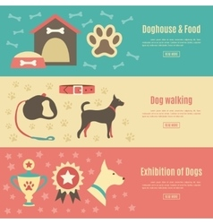 Retro pet flat horizontal banner set vector