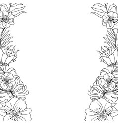 rustic branches with exotic flowers and leaves vector image