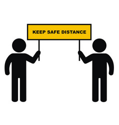 safe distance two person with banner vector image