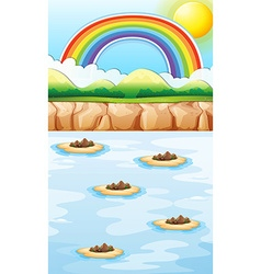 Scene with islands in the sea vector