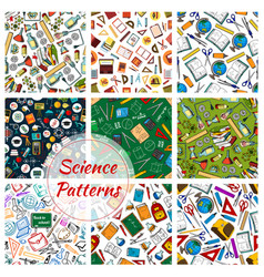 Science research and education seamless patterns vector