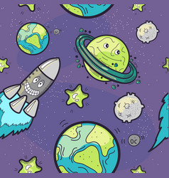 seamless pattern funny cosmos vector image