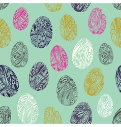 Seamless pattern with easter eggs Green backdrop vector image
