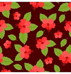 Seamless tropical pattern with stylized hibiscus vector
