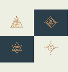 Set abstract linear isoteric logos golden vector