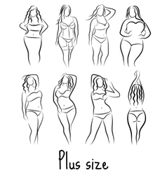 Set Girl silhouette sketch plus size model Curvy vector