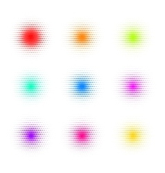 Set of Circle Colorful Dot Banners Noisy Round vector