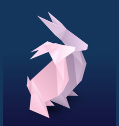 set of couple origami hare paper zoo rabbit vector image