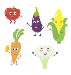 set of funny characters from vegetables vector image