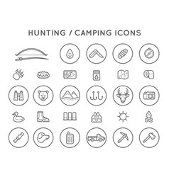 set of hunting camping sport elements can be used vector image