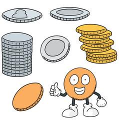 Set of money cartoon vector