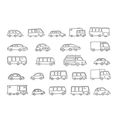 Set of sketch different transparent cars buses and vector
