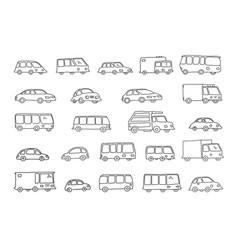 Set of sketch different transparent cars buses vector