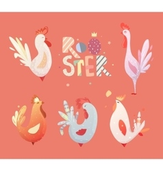 Set roosters for children vector image