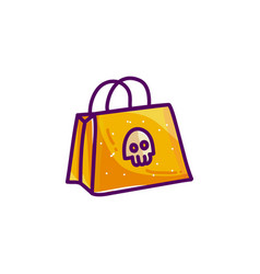 shopping bag with skull for halloween vector image